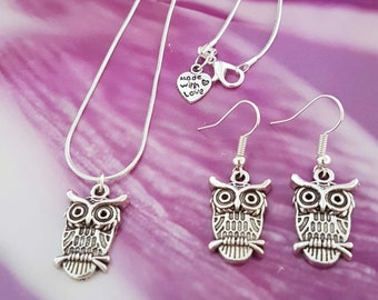 Hand Made Tibetan Style Owl Necklace and Earrings Set