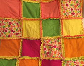 Minky-backed flannel rag quilt