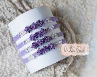 Handmade Newborn headband. Floral, Lilacs/purple. Photography prop