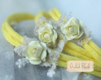 Handmade Newborn headband. Floral, sunshine yellow. Photography prop