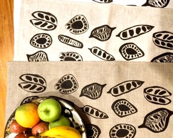Seed pods/ linen teatowel/ screenprinted/byron bay/australian seeds