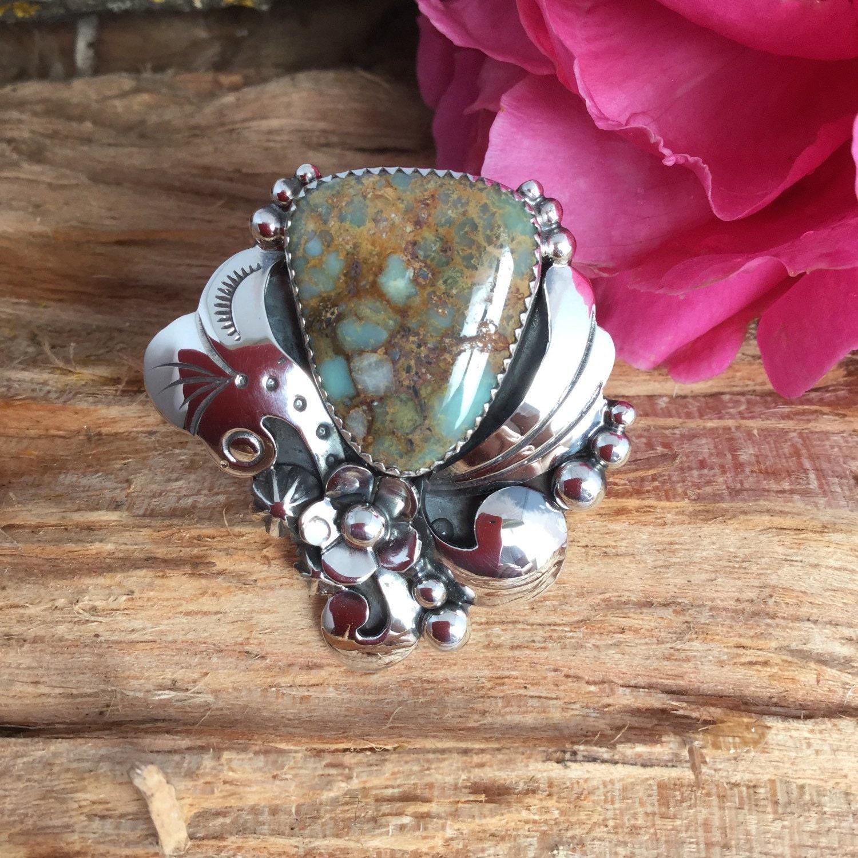 7 Dwarfs Turquoise Ring Sterling Silver Artisan Handmade