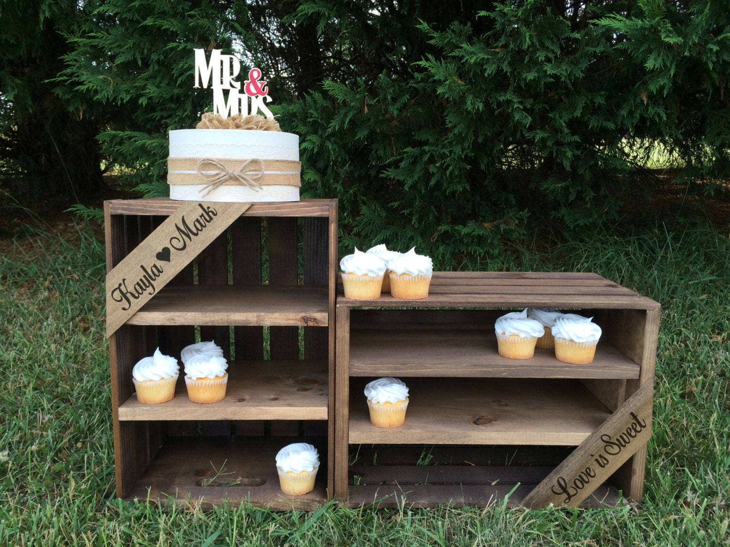 Rustic Wedding Wood Cake Stand: Rustic Wedding Cupcake Stand Rustic Cupcake Stand Favor