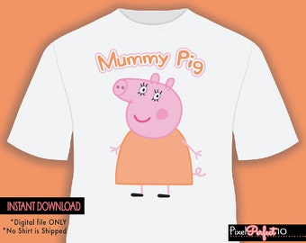 Mummy pig, Peppa pig tshirt iron on transfer, Peppa pig birthday party shirt iron on transfer, printable, Mummy Shirt, Digital File Only