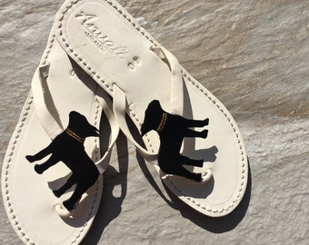 Boston terrier sandals handmade shoes leather