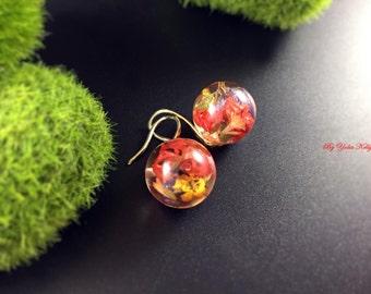 Epoxy resin earrings, Flower Earrings, Resin Earrings, Nature Jewelry, Flower Jewelry, Real Flower Earrings, Crystal Earrings