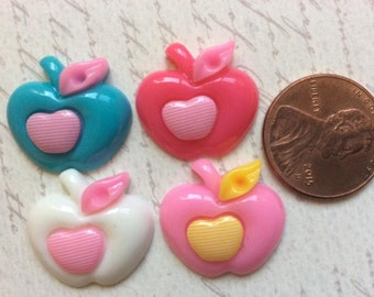 SET of 18 Cabochon Sweet 2 Colored Apples with Heart Centers/trim/embellishments/diy/hair bow/hair clip/scrapbooking