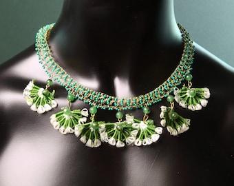 Necklace ,turkısh lace ,green lace handmade