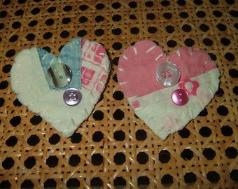 Vintage Antique Quilt Heart Pins~Set Of 2!   Set #2
