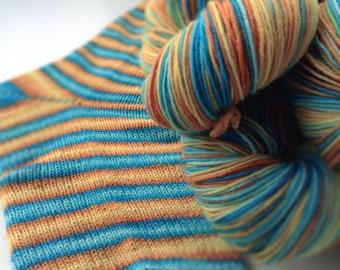 Hand dyed self striping sock yarn - Underwater Volcano