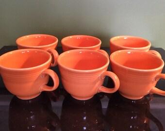 Orange Fiesta Coffee Cups / Homer Laughin HLC Fiesta Ware / Fiesta Cups / Set of Tea Cups / Fiesta Dishes / Vintage Fiestaware