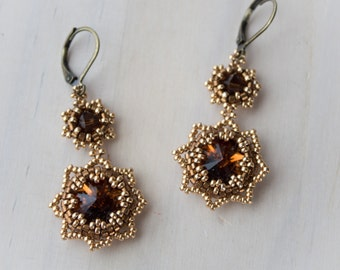 Honey and gold earrings/beadwork/beaded/chocolate/bronze/swarovski/brown/amber