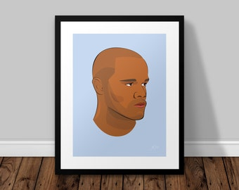 Vincent Kompany Manchester City Illustrated Poster Print | A6 A5 A4 A3