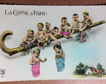 Vintage Nu french real photo postcard. Photomontage. Children. Enfant nu. Nude boy. Fantaisie bebe Multiples. La Canne a Papa! Hand colored