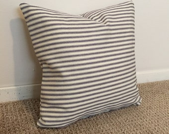 Striped pillow// Blue and cream pillow // decorative pillow// home decor// down alternative//