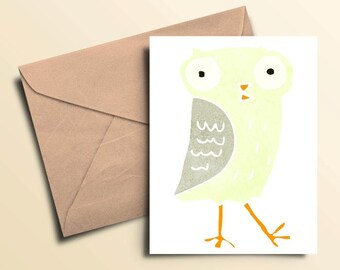 Walking Owl Note Cards - Boxed Set of 10 With Envelopes