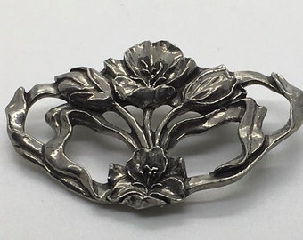 Seagull Pewter Floral Flower Brooch Made In Canada 1991 Pin
