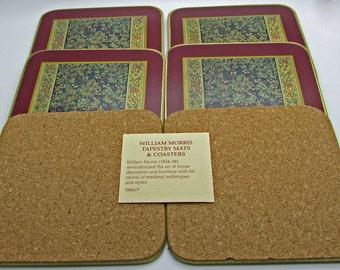 Vintage Cloverleaf  Coasters WM Tapestry LCC Made In England UK Tree Flowers Burgandy Red Brown Green Yellos