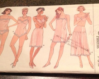 Vogue Sewing Pattern 9765 Lingerie Camisole Teddy Half Slip Panties 80's Size P S M 6 - 14 New Uncut FF