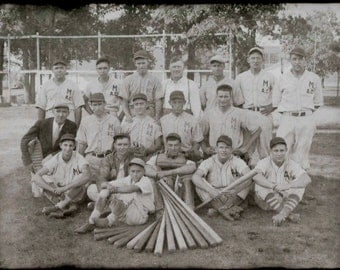 Original Vintage B&W Glass Plate Negative Baseball Team Michigan Agricultural College MSU 6 3/4 x 8 3/4