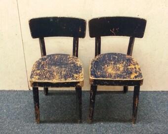 Two Dutch wooden children chairs