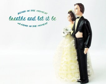 Vintage Wedding Couple Figurine | Plastic Wedding Cake Topper | breathe and let it be