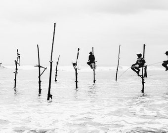 Stilt Fishermen Sri Lanka Black and White Fine Art Photography Print