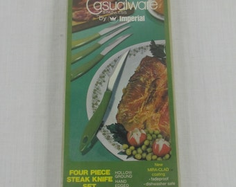 Casualware Stainless Steel Steak Knives Set Imperial Spring Green, Mint Condition