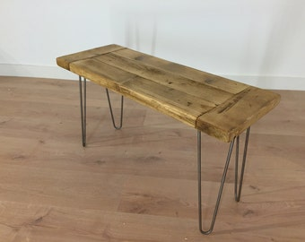 Dining Bench Reclaimed Pine with Hairpin Legs