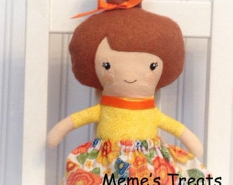 Fabric Doll Rag Doll Brown Haired Girl in Yellow & Orange Dress