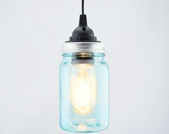 Mason Jar Pendant Light Kit, Regular Mouth, Black Cord  Bedroom Decoration, Home Lighting Decoration MJ-15PL-WB-BK