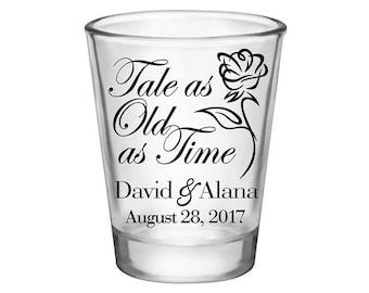 100x Wedding Shot Glasses Personalized Wedding Favor | 1.75 oz Clear | Tale As Old As Time (1A) | Choose Imprint Color | READ DESCRIPTION