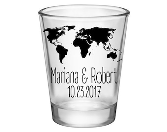 World map glasses etsy 50x custom wedding shot glasses wedding favors 175 oz clear around the world gumiabroncs Image collections