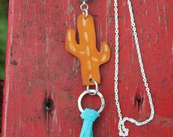 Southwestern Leather Cactus and Serape Bead with Fringe Necklace, Western, Gypsy, Boho Handmade Leather Jewelry