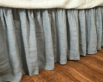 Duck Egg Blue linen bedskirt, linen dust ruffles, bed skirts, shabby chic bedding, Romantic country, Queen bedskirt, King bedskirt
