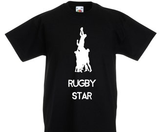 Kids Rugby Star T-Shirt / Childrens Rugby Line Out T Shirt in Grey, Black, Blue, Pink, Yellow / Ages: 3-4, 5-6, 7-8, 9-11, 12-13