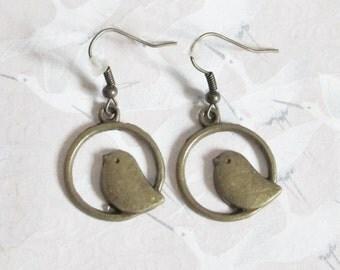 Bird earrings bronze, bird jewelery, retro earrings, romantic, animal, sparrow
