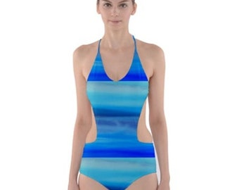 Ocean Cut-Out One Piece Swimsuit, Stylish, Exotic, and Uniquely Artistic Designed Women's Swimwear, Free Worldwide Shipping, SALE