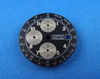 Black SPRIT Watch Dial Part -Chronograph- 29mm -Swiss Made- #216