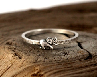 Elephant ring sterling silver. Tiny sterling silver ring, stacking ring, hammered band ring