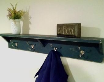 Rustic Coat Rack, Coat Hanger, Wall Shelf, Rustic Coat Shelf, Coat Hooks, Rustic Coat Hook, Rustic Shelf