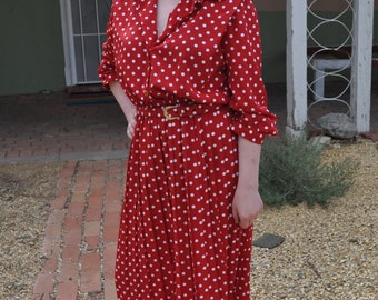 Vintage 1970s Red Belted Dress with White Polka Dots by Lady Carol of New York