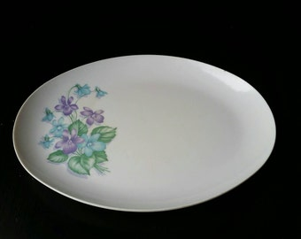 Royalon Corsage Blue and Purple Melmac Melamine Platter