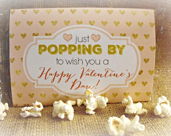Valentine's Day Microwave Popcorn Label, Valentines Day Gift Idea, Popcorn Valentine, Printable Valentine, Valentine Label, Instant Download