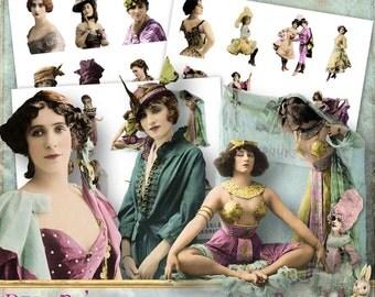 Belle Époque - 3 x Digital Collage Sheet ATC .png - itKuPiLLi - Printable, Instant Download