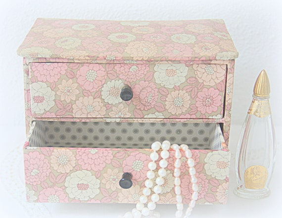 Vintage French Fabric Covered Jewelry Box with Two Drawers, Pink Floral Fabric