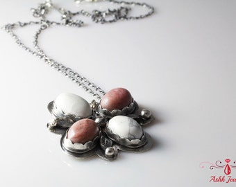 Handmade Sterling Silver Pendant With Pinklite & Howlite Stones