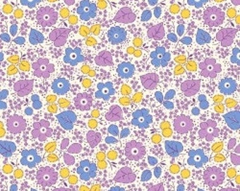 Feedsack Florals - Purple Yellow Blue on white - Reproduction 1930s - by the Half Yard