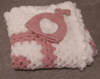 Crochet Baby Blanket and Hat set