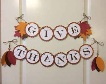 Give Thanks banner, Thanksgiving Banner